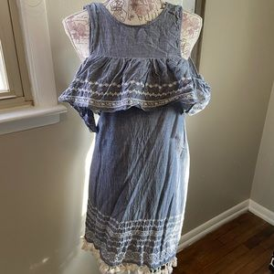 Francescas chambray tasseled and embroidered dress